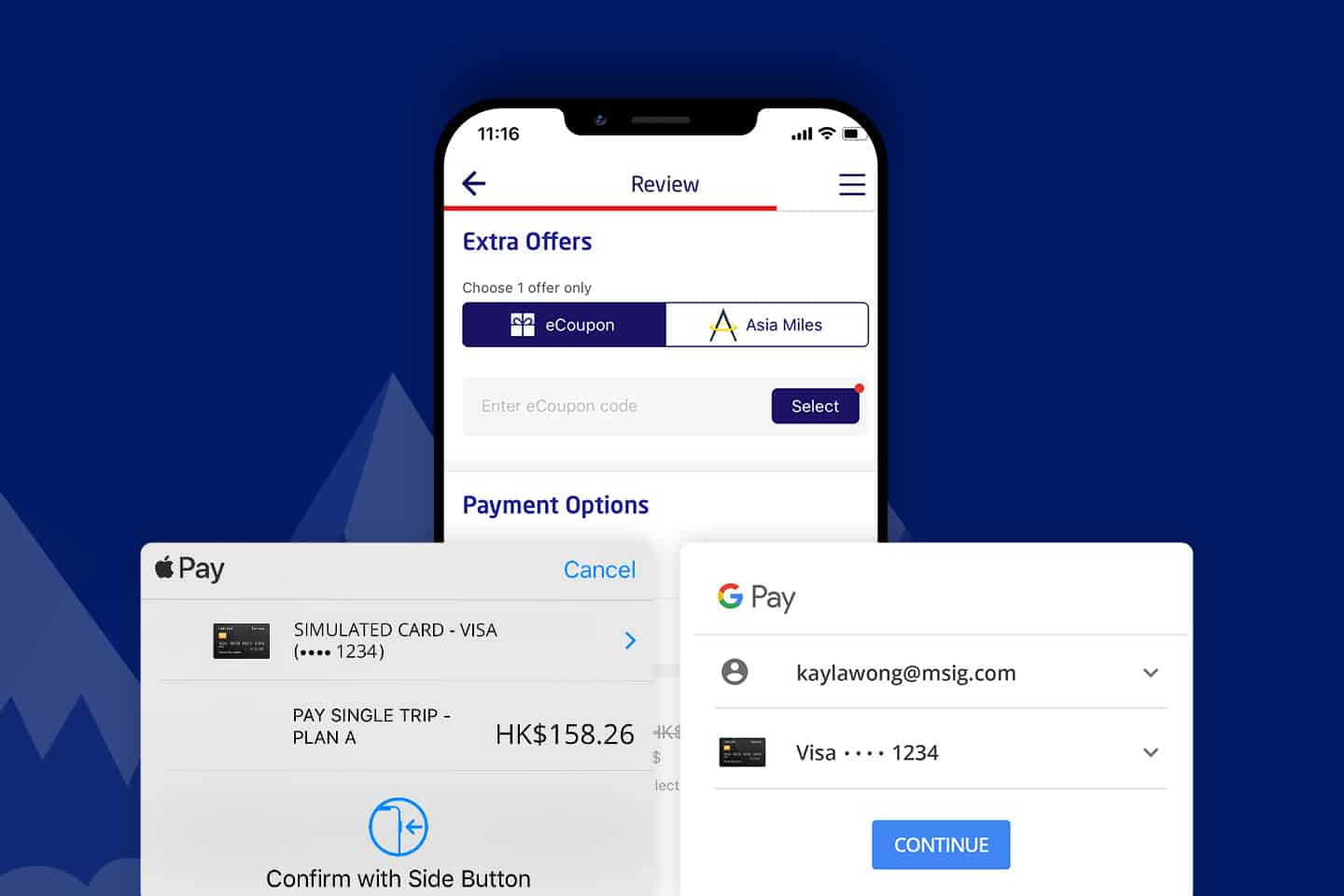 Pay in seconds with Apple Pay or Google Pay with MSIG App