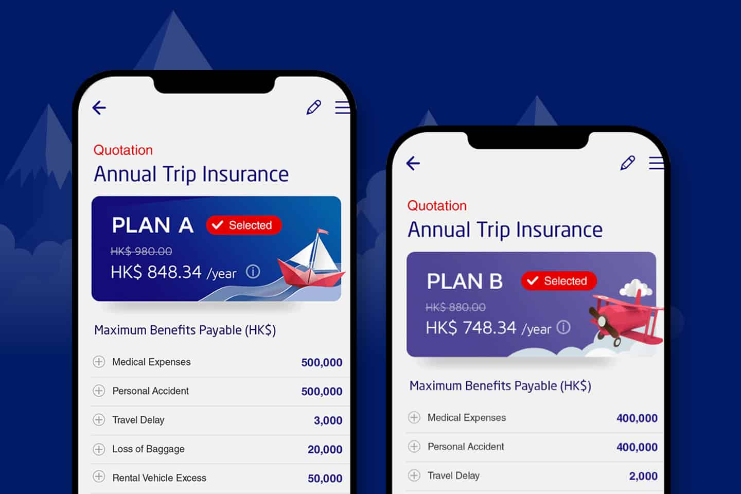 Compare plan coverage side by side instantly with clear UI interface with MSIG App