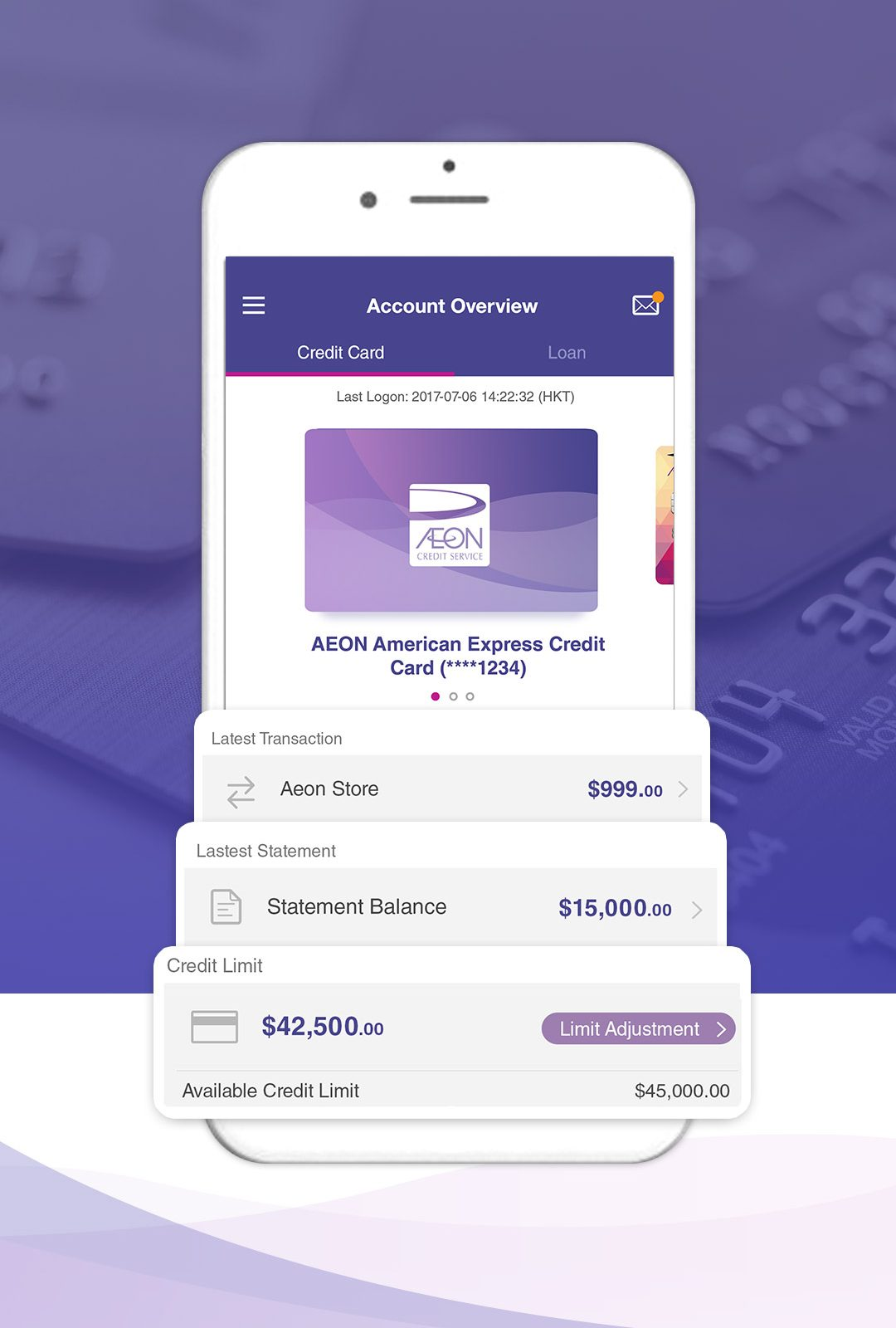 Account information and Transaction Details Dashboard at Aeon HK App