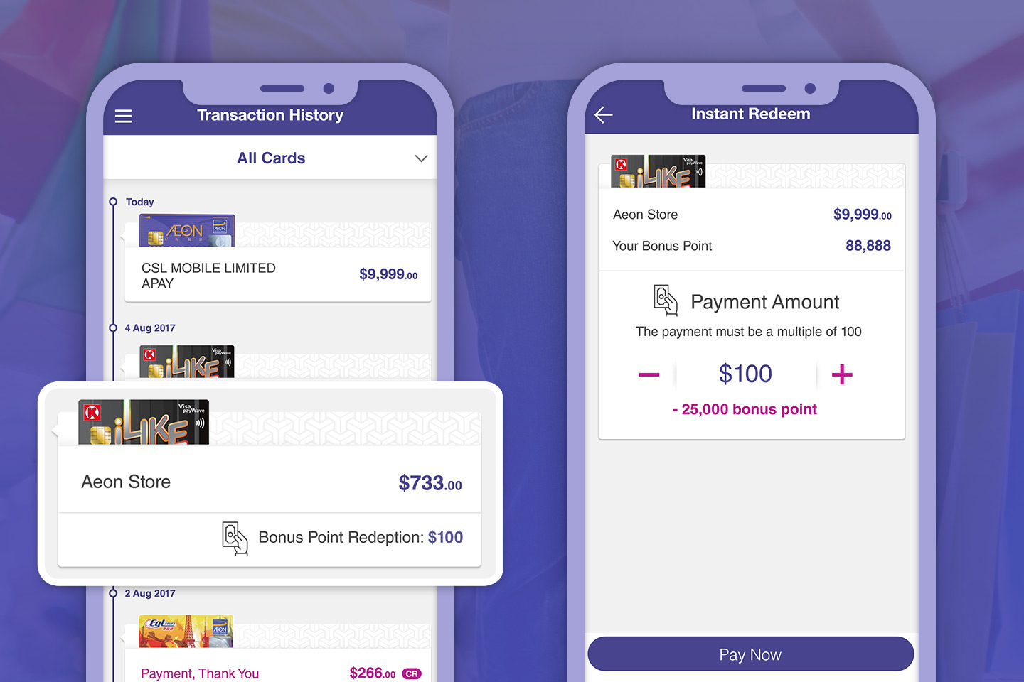 Gain bonus points for every purchase with AEON App