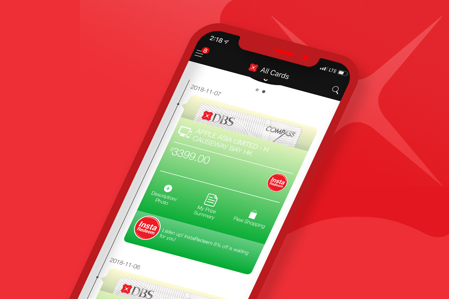 DBS Bank DBS Omni App Credit Card transaction and Account overview